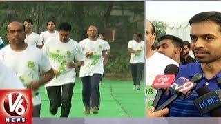 SBI Employees Conducts Green Marathon In Gachibowli | Hyderabad | V6 News