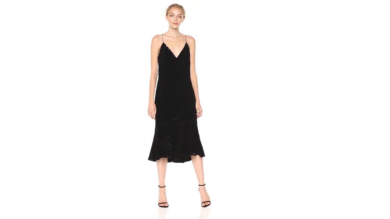 c93bcbe3c5f9 Vera Wang Women's Velvet Sequins Slip Dress With Flutter Skirt - YouTube