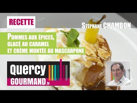 Recette : Pommes aux épices, glacé au caramel et crème montée au mascarpone – quercygourmand.tv