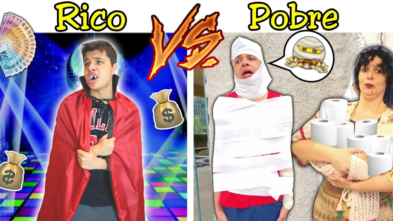 RICO VS POBRE NA ESCOLA #52 - FESTA FANTASIA NA AULA ONLINE !