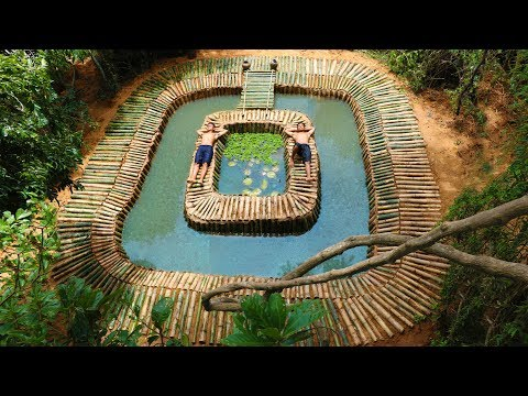 Building Swimming Bamboo Pool And Fish Pond(Bamboo 100%)