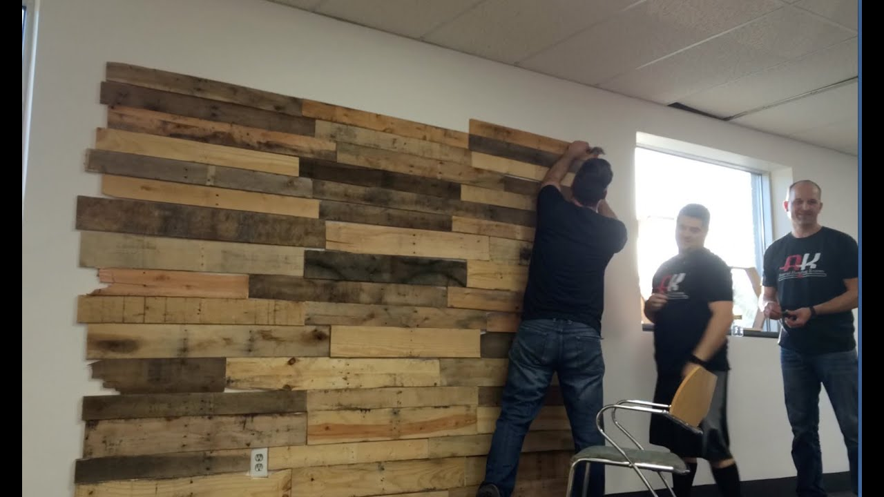 how to make a pallet wall with matter and the give back. Black Bedroom Furniture Sets. Home Design Ideas