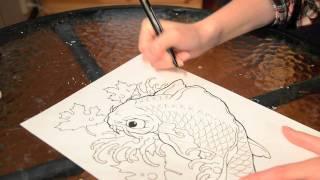 Speed painting - Koi fish tattoo design, black and grey