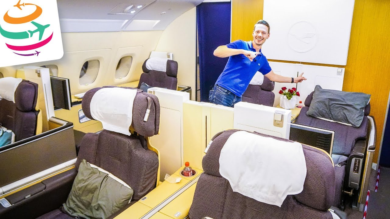 lufthansa first class a380 nur f r uns globaltraveler tv youtube. Black Bedroom Furniture Sets. Home Design Ideas