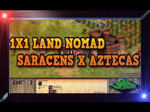 Age of Empires 2 HD 1x1 Land Nomad Saracens X Aztecas AoE2HD Gameplay PT BR