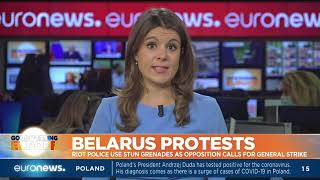 Belarus protests: Riot police use stun grenades as opposition calls for a general strike