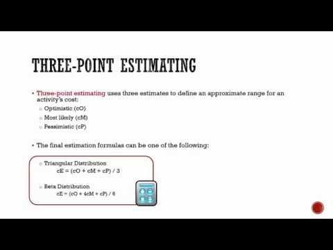 Estimate costs: three-point estimating method