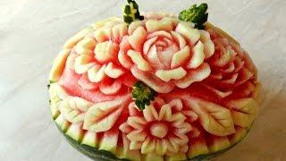 ВЫРЕЗАЕМ ЦВЕТЫ НА АРБУЗЕ карвинг из овощей и фруктов