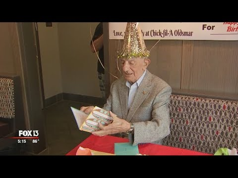 Hilary - Chick Fil A surprises devoted customer for his 100th birthday