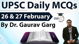 UPSC Daily MCQs on Current Affairs - 26 + 27 February 2018 - for UPSC CSE/ IAS Preparation Prelims