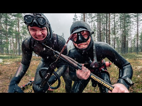 Lake Spearfishing Finland - It Snowed Getting Into Our Wetsuits!