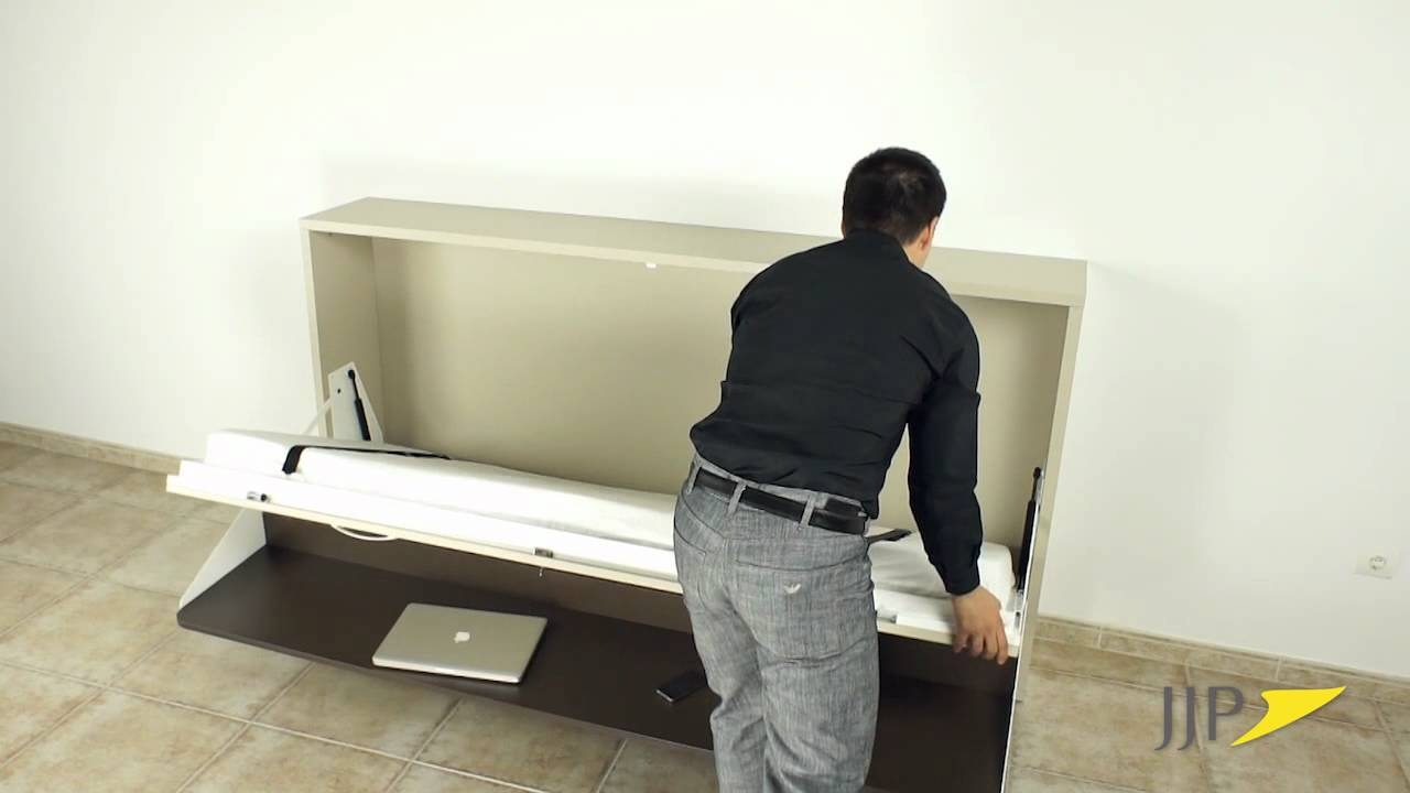 Cama abatible horizontal con mesa - YouTube