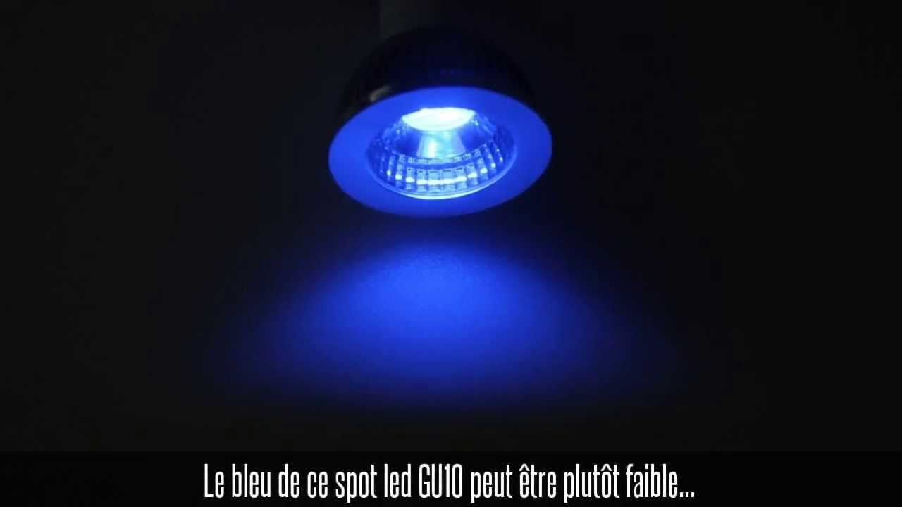 ampoule led cob gu10 5w bleue compatible variateur youtube. Black Bedroom Furniture Sets. Home Design Ideas