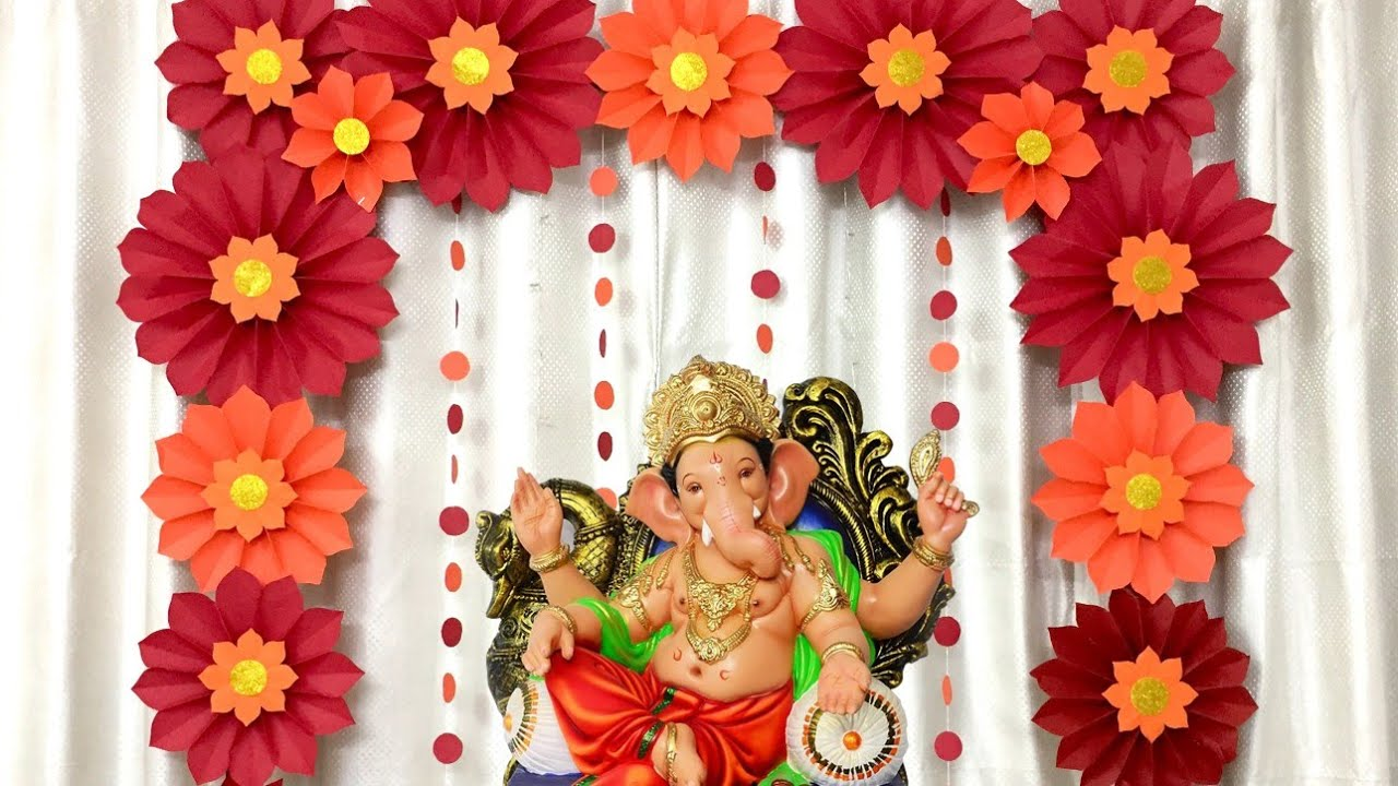 Ecofriendly Ganpati Decoration Ideas At Home Very Easy Paper Flower