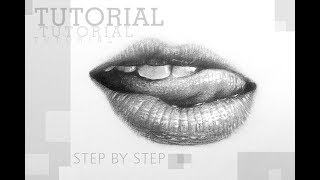 How to Draw Realistic LIPs with pencil   TUTORIAL Step by Step