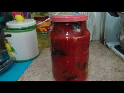 Баклажаны жареные, в томатном соусе - на зиму - рецепт