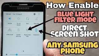 How Add Blue light filter mode & Direct Screen shot in notification bar Any Samsung device [HINDI]