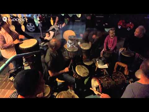 28th annual holiday Montana Avenue streetwalk drumming group 12. 5.14