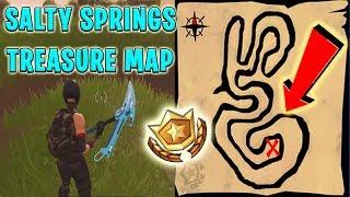 Suivez la carte du trésor trouvée à Salty Springs - Fortnite Saison 4 Semaine 3 LEAKED Challenges