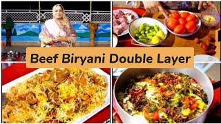 Double Layered Beef Biryani Recipe By Cooking with Shabana ||