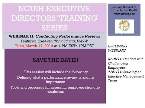 Executive Directors Training Webinar Part 2 Conducting Performance Reviews March 2014
