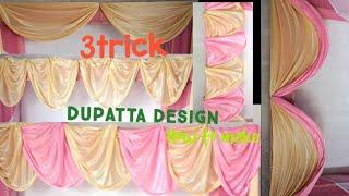 Flower Decoration Dupatta Kaise Lagaya Gata Hai   3 Tarika  | Diy Easy Design Dupatta Decoration