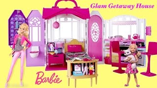 barbie glam getaway house megabloks barbie glam cabin   barbie toys unboxing and review