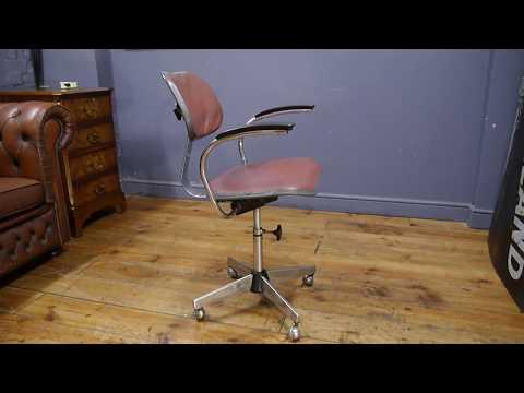 Vintage Industrial 1950s Evertaut Metal Swivel Desk Chair