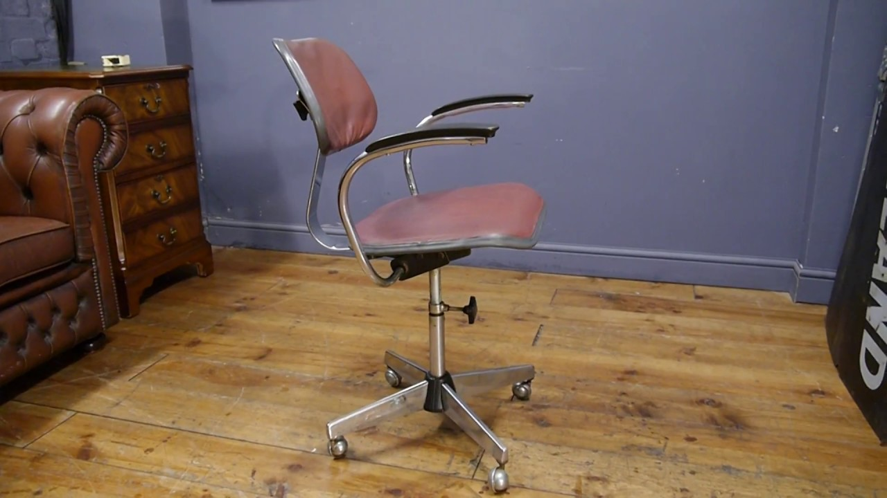 Vintage industrial metal office chair metal Sturgis Posture Vintage Industrial 1950s Evertaut Metal Swivel Desk Chair Urban Americana Vintage Industrial 1950s Evertaut Metal Swivel Desk Chair Youtube