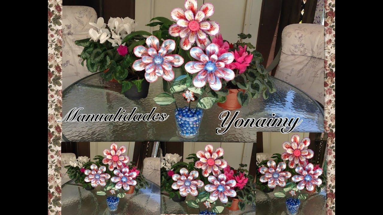 Flores Grandes Hechas Con Botellas Recicladas Youtube