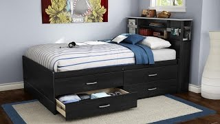 South Shore Cosmos Collection Full Size Captain's Bed In Black Onyx And Charcoal Finish