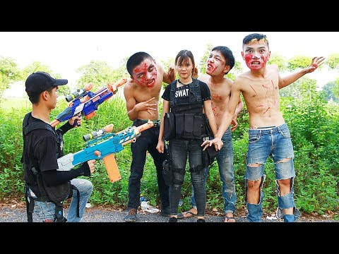 Superhero action Monster Hunter S.W.A.T Nerf guns Zombies HERO MAN Rescue Sister Nerf war thumbnail