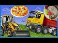 Funny Clown Bob | Construction vehicles Tractor Dump Truck Pizza for kids & Excavator Video for kids