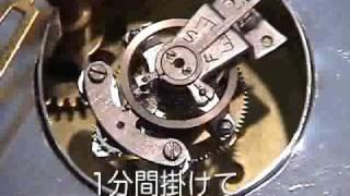 古い『日の出』置時計のムーブメントを加工して作ったトゥールビヨンの...