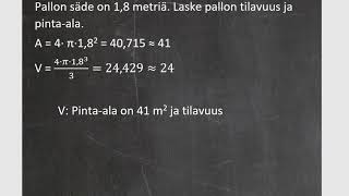 Kurssi 10: Avaruusgeometria: osa8: Pallon pinta-ala ja tilavuus