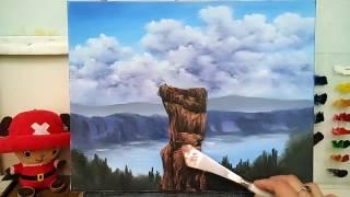 Oil painting《油畫教學.示範》tree house 樹屋 #1 風景油畫.歡樂畫廊.休閒油畫.瘋油畫