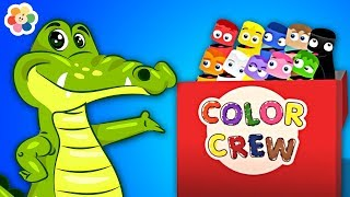 Learn Fun Colors With Crocodile and Wild Animals For Kids, Children & Babies