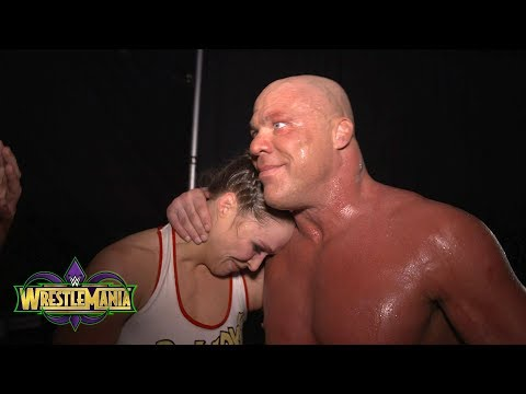 Ronda Rousey celebrates her WrestleMania debut with Kurt Angle: Exclusive, April 8, 2018