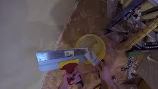 Шпаклевание қабырғалары шпаклевкой глимс цемент екінші қабаты . Ас үйді жөндеу.