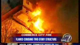 A spectacular house fire is caught on tape by airtracker 7, the kmgh tv helicopter in denver. was commerce city, colo., and child reported...