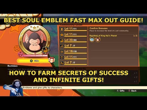 Dragon Ball Z Kakarot Soul Emblem Guide   DBZ   How To Farm Secrets Of Success & Gifts   Max   Tips