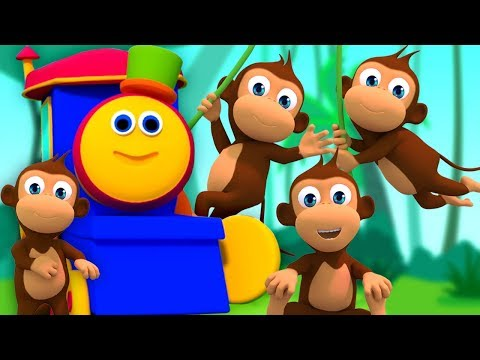 bob beş küçük maymunlar   bob maymun kafiye   Bob Five Little Monkeys   Kids tv Türkçe