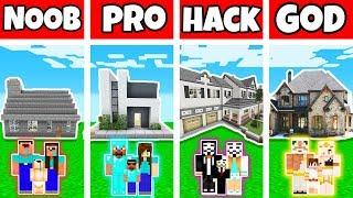 Minecraft: FAMILY MODERN STONE BRICK HOUSE BUILD CHALLENGE - NOOB vs PRO vs HACKER vs GOD
