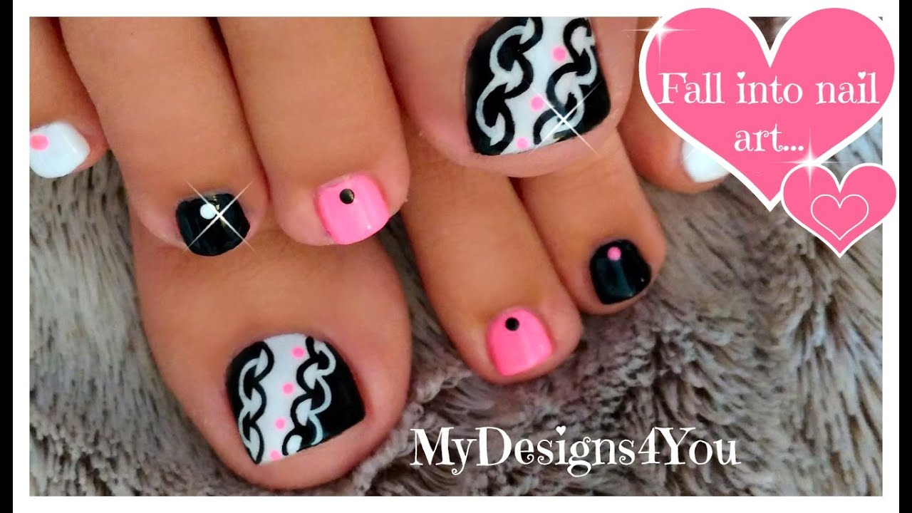 Hot pink and black toenail art design youtube prinsesfo Gallery