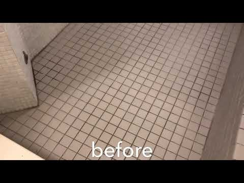 Crazy shower tile & grout clean & ColorSeal by RotoClean!