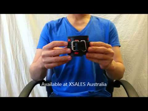 InfernalRestraints Black Leather Wrist with Featured Red Stitchi