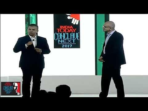 Bhavish and Satya Nadella announcing the partnership