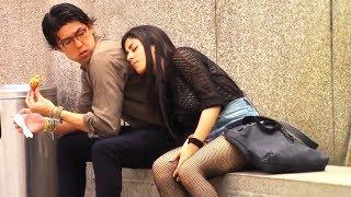 Girl Sleeping on Strangers Prank!