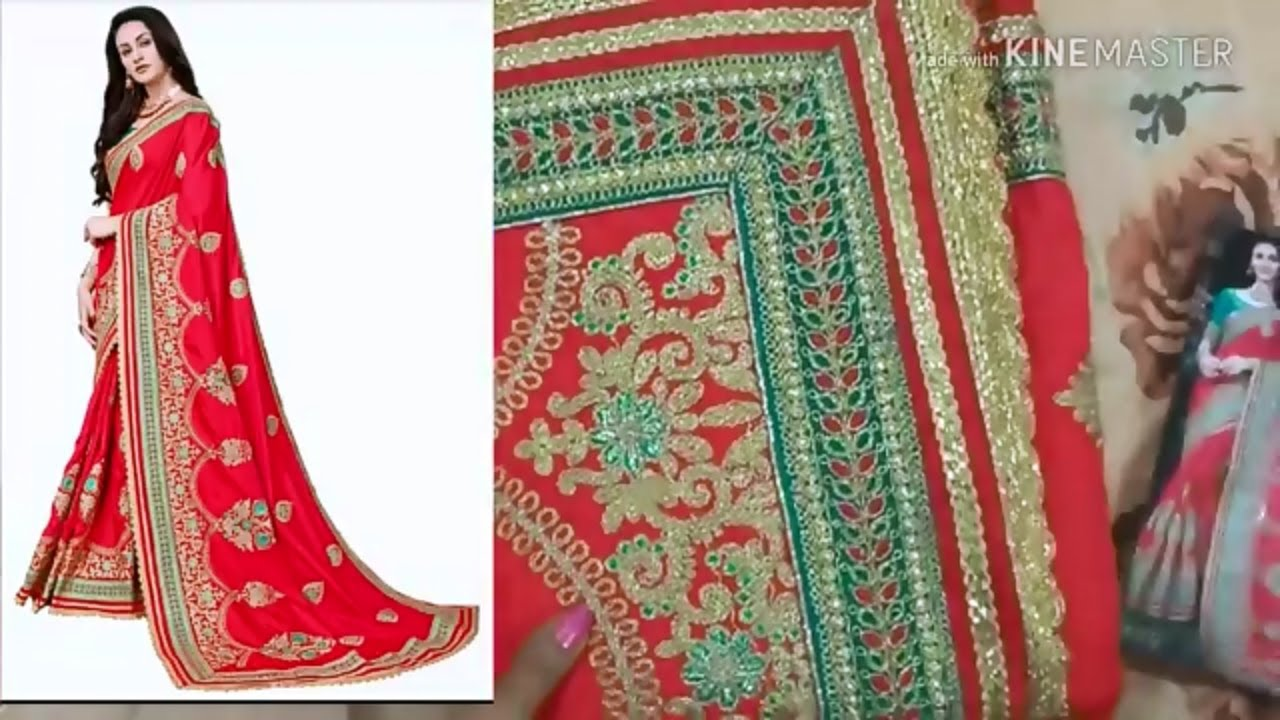a37c9643ed Flipkart Art Silk Embroidered Saree unboxing| karwa chauth red saree ...