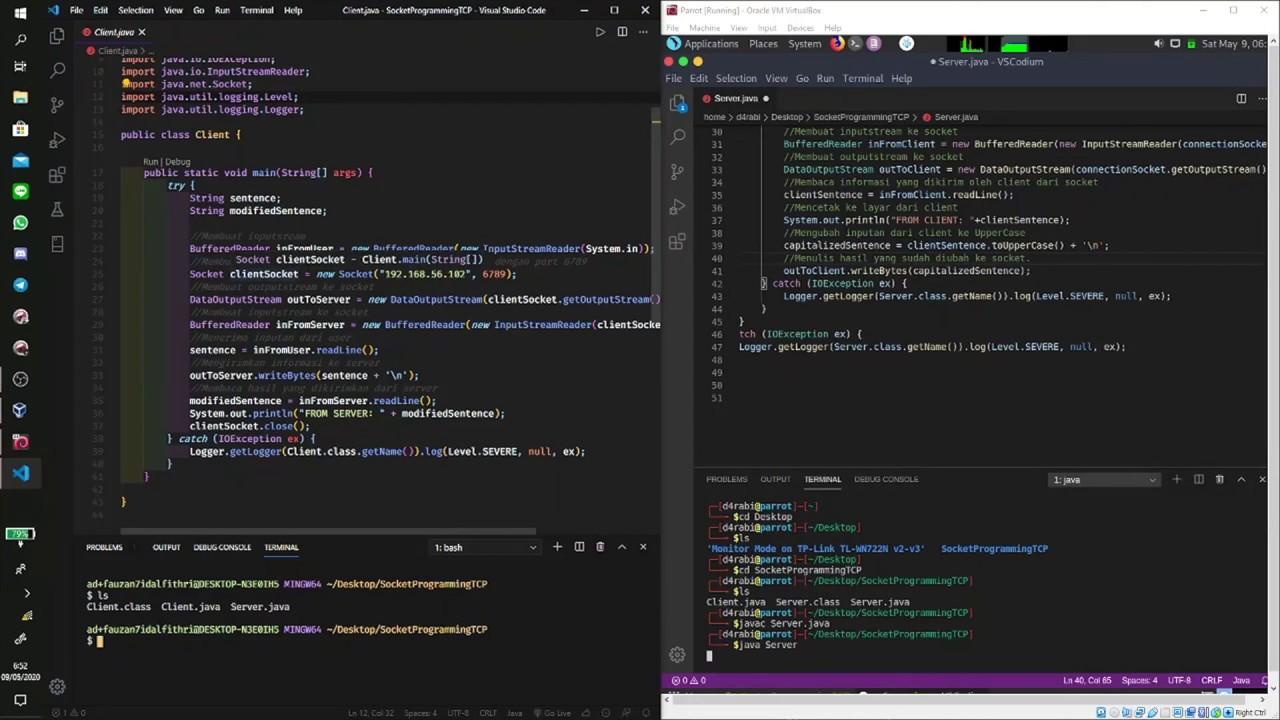 Socket Programming TCP Menggunakan VM Linux VirtualBox ...